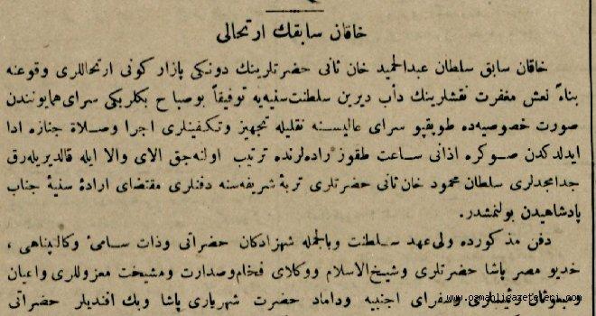 Sultan 2. Abdülhamid'in Vefat Haberi